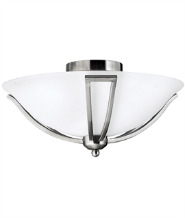 Art Deco Brushed Nickel Flush Light
