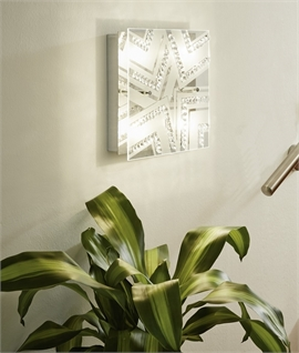 LED Square Glass & Crystal Semi-Flush Light