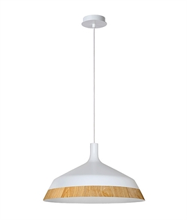 Modern White and Wood Effect Pendant