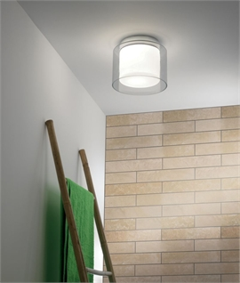 Twin Glass Bathroom Ceiling Light - IP44 Rated