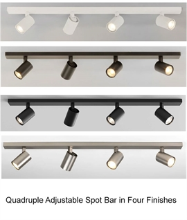 Modern Adjustable 4 Light Spot Bar - 4 Finishes