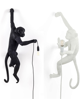 Monkey Wall Light - Left or Right Hanging & White or Black
