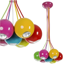 Multi-Coloured Cluster Ball 7 Light Pendant