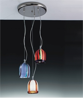 Multi-Coloured Murano Glass Trio Pendant