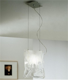 Murano Glass Pendant - Clear & Frosted