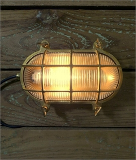 Lozenge Marine Bulkhead Light - Caged Glass