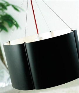 Black Offset Steel Pendant - Red Flex