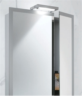 Off-Set Split Doors Illuminated Cabinet & Shaver Socket W:600mm