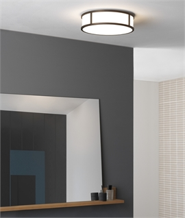 Opal Glass & Bronze LED IP44 Round Flush Light