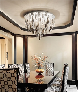 Round Clear Crystal & Glass Chandelier