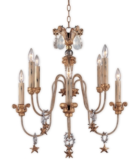 Elstead Mignon 8 Light Chandelier - Crystal Teardrop Droplets