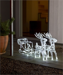 Outdoor LED Reindeers with Sleigh