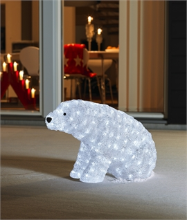 Outdoor LED Small Crouched Polar Bear