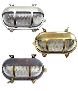 Oval Brass Bulkhead with Eyelid - Marine Wall Light