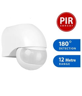 IP44 Exterior PIR 180º Security Motion Sensor