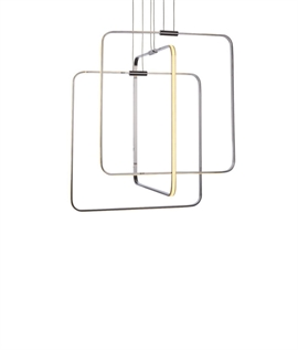 Interlocking Squares - Chrome LED Pendant
