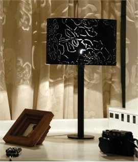 Black Flower Fretwork Shaded Table Lamp - Peony by Innermost