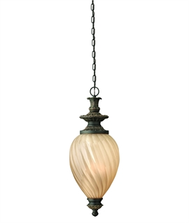 Exquisite 3-Light Chain-Hung Lantern with Twisted Amber Glass Shade