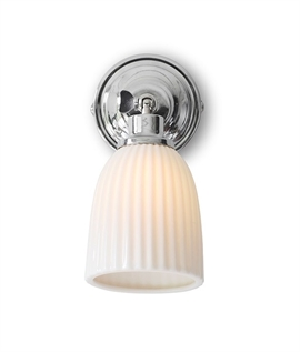 Small Bracket Wall Light with a Fluted Porcelain Shade