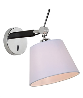 Petite Chrome and Black Wall Light with Cotton White Shade