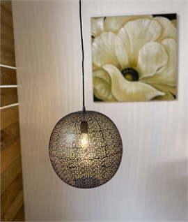 Pierced Metal Globe Light Pendant in Pewter Finish