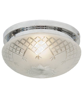 Art Deco Etched Glass & Chrome Flush Light