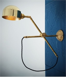 Polished Brass Fully Adjustable Swing Arm Wall Light
