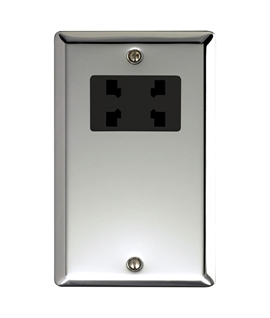 Polished Chrome Dual Voltage Shaver Socket Bevelled Edge