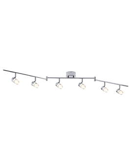 Polished Chrome and Glass 6 Light LED Bar