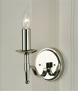 Polished Nickel Traditional Wall Light - Single or Double