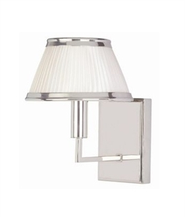 Polished Nickel Arm Wall Light with Cream Shade