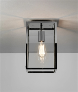 Framed Glass Porch Lantern - Ideal for Low Ceilings