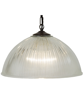 Traditional Ribbed Glass Ceiling Light on Chain Suspension