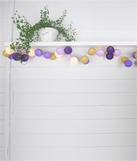 20 Purple Nights LED String & Ball Light Set
