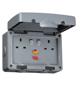 RCD Protected Exterior Double Wall Socket