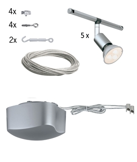 Ready to Install LED Tension Wire Spotlight System - 5 Spots