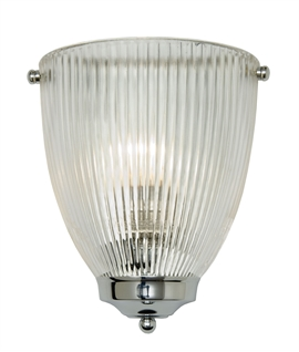 Reeded Glass and Chrome Wall Sconce