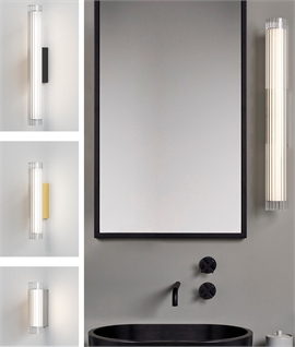 Modern LED Bathroom Wall Light - Reeded Glass and Bright Metalwork