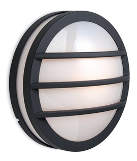 Exterior Round Drum Wall with Slat Detailing