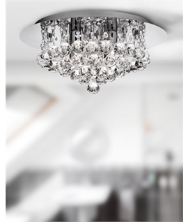 Glamorous Drop Crystal Ceiling Light Designed for Bathrooms