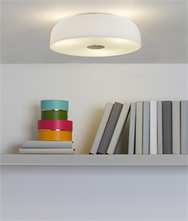 Flush Round Opal Glass Ceiling Light - IP44 Rated