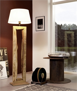 Rustic Driftwood Wooden Floor Lamp with Shade