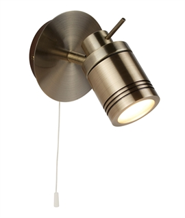 Satin Brass Bathroom Spotlight with Pullcord