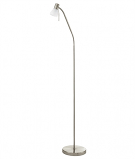 Satin Nickel Adjustable Floor Lamp with Glass Shade
