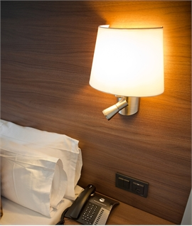 Satin Nickel Bedside Wall Light With LED Reading Light