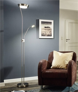 LED Nickel Mother & Child Floor Lamp with Dimmer