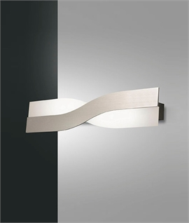 Satin Silver & Frosted Glass Twisted Wall Light