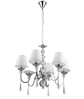 LED Chrome Chandelier with Crystal & White Shades