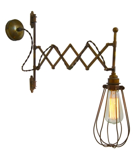 Scissor Arm Extendable Caged Wall Light