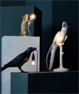 Parrot Table Lamp in White Resin